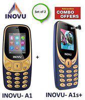 Inovu A1 Blue Gold plus Inovu A1s Plus(Selfie Phone) Blue Gold Combo of 2 Mobiles