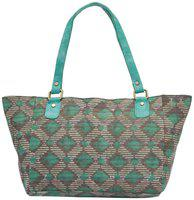 Tarusa Powder Blue Cotton Fabric Abstract Geometric Tote Bag For Women