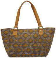 Tarusa Turmeric Yellow Cotton Fabric Abstract Geometric Tote Bag For Women