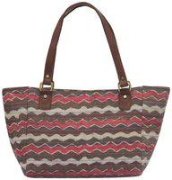 Tarusa Pink Blush Cotton Fabric Abstract Geometric Tote Bag For Women
