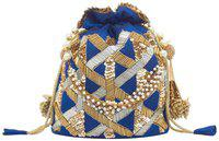 TARUSA Blue Silk Material Embroidered Potli For Women