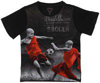 Wear your Mind Boy Poly cotton Printed T-shirt - Black