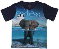 Wear your Mind Boy Poly cotton Printed T-shirt - Blue