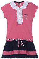 612 League Pink Cotton Short Sleeves Above Knee Collar Frock ( Pack of 1 )