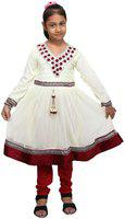 Qeboo Girl's Cotton Georgette Salwar Suit with Dupatta Dress with  from 3 Years to 9 Years Old Girl Red