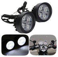 Lionex Fog Light Mirror Mount 4 Led White Light Auxillary Light Bike Motorcycle(Set of 2)