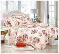 Gifty Cotton Floral Queen Size Bedsheet 104 TC ( 1 Bedsheet With 2 Pillow Covers , Red )