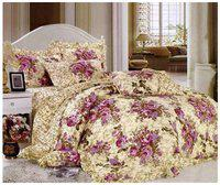 Gifty Cotton Floral Queen Size Bedsheet 104 TC ( 1 Bedsheet With 2 Pillow Covers , Purple )