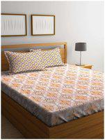 SWHF Premium Cotton Printed King Bed Sheet with 2 Pillow Covers: Orange