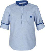 URBAN SCOTTISH Boy Cotton Solid Shirt Blue