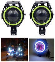 LIONEX U7 CREE LED FullRing Projector Fog Light with High/Low Strobe Beam and Flashing Universal Headlight Driving Spot light;Night Lamp for Motorcycle Bike (10W-35W;White;Pack of 2)