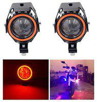 LIONEX U7 CREE LED FullRing Projector Fog Light with High/Low Strobe Beam and Flashing Universal (10W-35W;Red;Pack of 2)