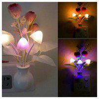 Night Light with Smart Sensor,0.7W Plug-In,Romantic Color Change,Mushroom&Lotus Leaf Lamp