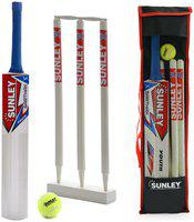 Sunley Sarthak Youth Size 4 For Age Group 9-11 Years Wooden Cricket Kit (1 Piece Bat, 3 Piece Wickets, 1 Piece Base, 2 Piece Bails, 1 Piece Tennis Balll, 1 Piece Kit Bag
