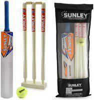 Sunley Sarthak Combo Senior Size 6 For Age Group 11-13 Years Wooden Cricket kit (1 Piece Cricket Bat, 3 Piece Wickets,1 Piece Base, 2 Piece Bails, 1 Piece Tennis ball,1 Piece kit Bag)