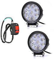 Autosky 9 LED Round Car-Bike Fog Light Beam Off Road Driving LED Light Lamp 2Pcs With On-Off Switch