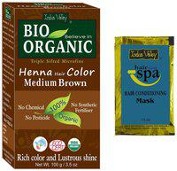 Indus Valley Natural Medium Brown PPD Free Henna Hair Colour With Free Hair Eaze Spa Sachet (Combo Pack)