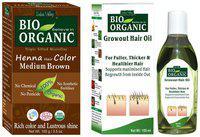 Indus Valley Ammonia Free Organic Medium Brown Henna Hair Colour With Anti Hair Fall Growout Hair Oil (Pack of 2)