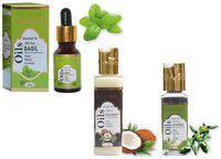 Indus Valley Basil Jojoba And Coconut Oil For Anti Dandruff Hair-Combo Pack Of 3(165 ml )