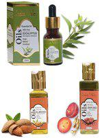 Indus Valley Eucalyptus plus Grapeseed Oil plus Almond Oil For Healthy Hair And Scalp- Combo Pack Of 3