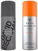 David Beckham Homme Sport Deodorant Spray - For Men (300 ml Pack of 2)