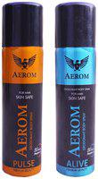 Aerom Pulse and Alive Deodorant Body Spray For Men, 300 ml (Pack of 2)