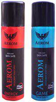 Aerom Energy and Game Deodorant Body Spray For Men, 300 ml (Pack of 2)