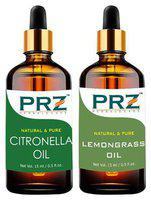 PRZ Combo Set Of Mosquito Repellent Citronella Oil & Lemongrass Essential Oil ( Each 15ml )) - Pure Natural Aromatherapy & Therapeutic Grade Oil For Skin Care & Hair CareCare & Hair Care