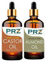 PRZ Combo of Castor Oil & Almond Oil For Hair Growth, Skin Care (Each 15 ml ) - Pure Natural For Aromatherapy Body Massage, Skin Care & Hair ReGrowth