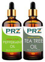 PRZ Combo of Peppermint Oil & Tea Tree Oil For Hair Growth, Skin Care (Each 15 ml ) - Pure Natural & Therapeutic Grade Oil For Aromatherapy Body Massage, Skin Care & Hair Care