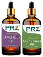 PRZ Combo Set of Lavender Oil & Lemongrass Essential Oil ( Each 15ml )- Pure Natural & Therapeutic Grade Oil For Aromatherapy Body Massage, Skin Care & Hair ReGrowth