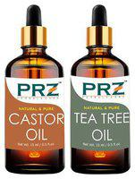 PRZ Combo Set Of Castor Carrier Oil & Tea Tree Essential Oil ( Each 15ml ) - Pure Natural & Therapeutic Grade Oil For Aromatherapy Body Massage, Skin Care & Hair Regrowth