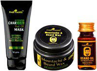 PARK DANIEL Activated Charcoal Peel off Mask Beard & Moustache Wax And Beard Growth Oil Combo Pack of 3(145 g)