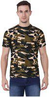 Chauhan Men's Hosiery Army Print Half Sleeve Round Neck Casual T-shirt (multicolour, )