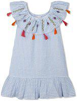 Budding Bees Girls Blue Striped Embroidered Dress