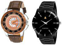 Golden Bell Combo of Day and Date Chronograph and Black Chain Analog Display Men's Watches - GB-1113