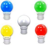 REMEN 0.5W Night Bulb, B22,Combo Pack, Pack of 5 (White,Yellow,Green,Blue, Red)
