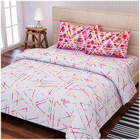 SEJ White Cotton 88 x 108 Geometric Double Bedsheet Set