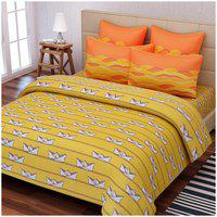SEJ Abstract Yellow Cotton Double Bedsheet Set