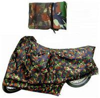 KunjZone Military Dust Proof Water Resistant Double Mirror Pocket Bike Body Cover for Bajaj Discover 150