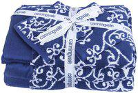 Bath Essentials, Cotton Towels, ( Set of 6 ), 2 Bath 2 Hand 2 Face Towels, Colour-Navy Blue yarn Dyed.