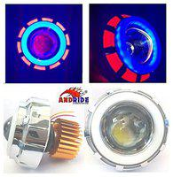 Andride Projector Lamp High Intensity LED Headlight Stylish Dual Ring COB Inside Double Angel's Eye Ring Lens Projector for - All Bikes (Blue & White)