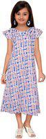 Kidling Girls Midi/Knee Length Party Dress(Blue, Cap Sleeve)