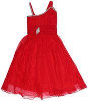 Kidling Red Net Sleeveless Knee Length Princess Frock ( Pack of 1 )