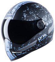 Steelbird Adonis R2K Full Face Helmet Mat Black/Light Blue With Smoke Visor Large 600 MM