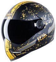 Steelbird Adonis R2K Full Face Helmet Mat Black/Yellow With Smoke Visor Medium 580 MM