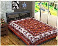 Fashion Dziner Cotton Modern Single Bedsheet ( 1 Bedsheet without Pillow Cover , Orange )