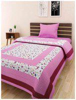 Fashion Dziner Cotton Modern Single Bedsheet ( 1 Bedsheet without Pillow Cover , Purple )