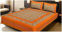 AJ Home Cotton Printed Double Size Bedsheet 104 TC ( 1 Bedsheet With 2 Pillow Covers , Orange )