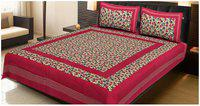 AJ Home Cotton Printed Double Size Bedsheet 104 TC ( 1 Bedsheet With 2 Pillow Covers , Red )